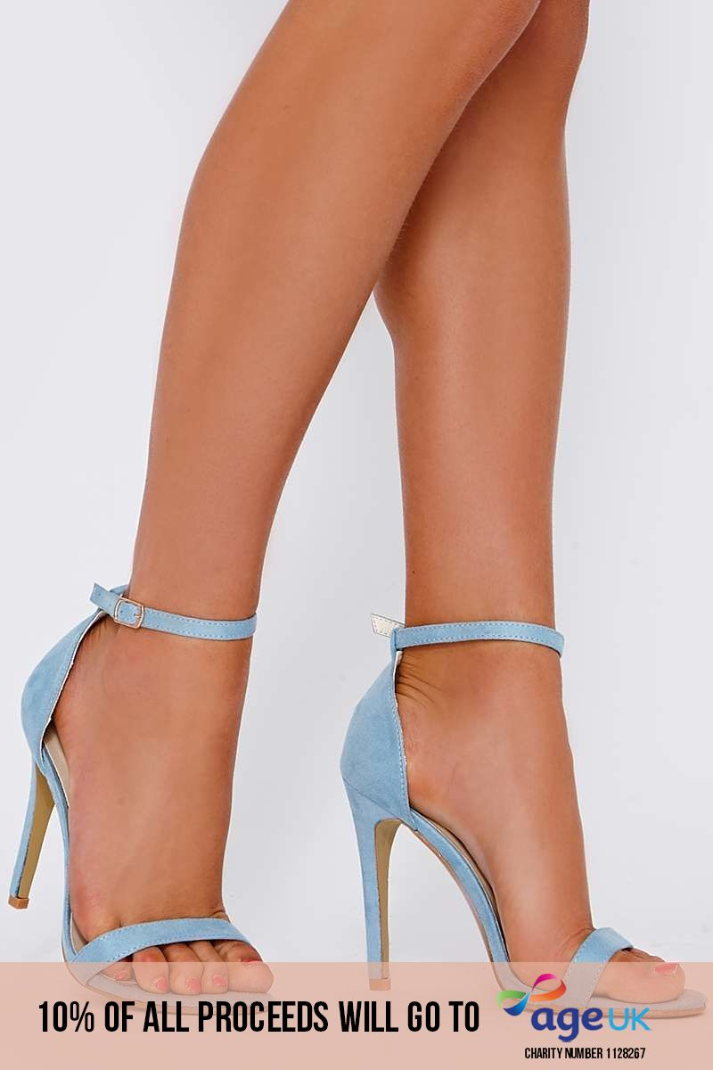 baby blue faux suede ankle strap heels