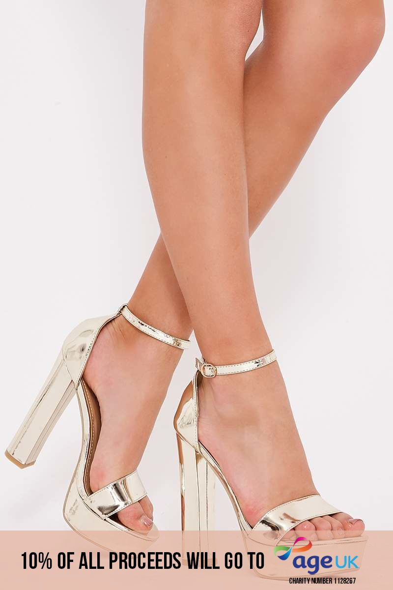 gold metallic platform barely there heels