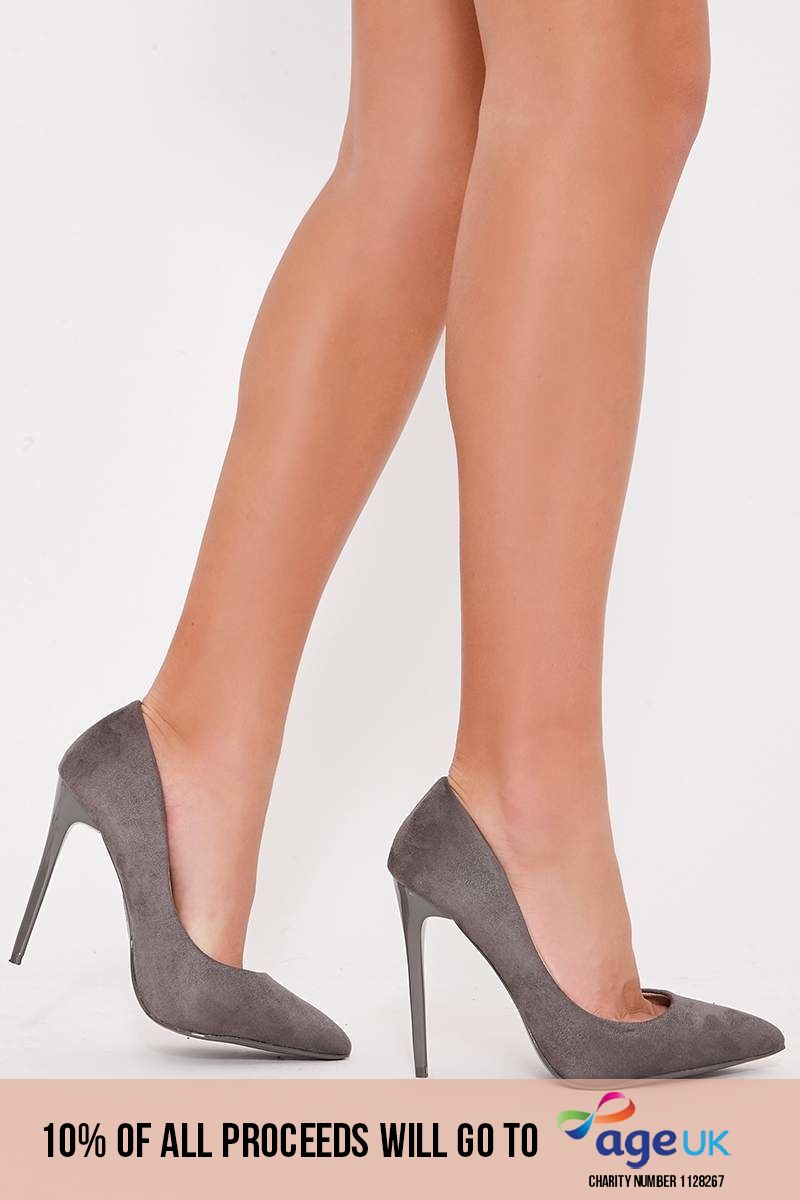VANNA GREY FAUX SUEDE COURT HEELS