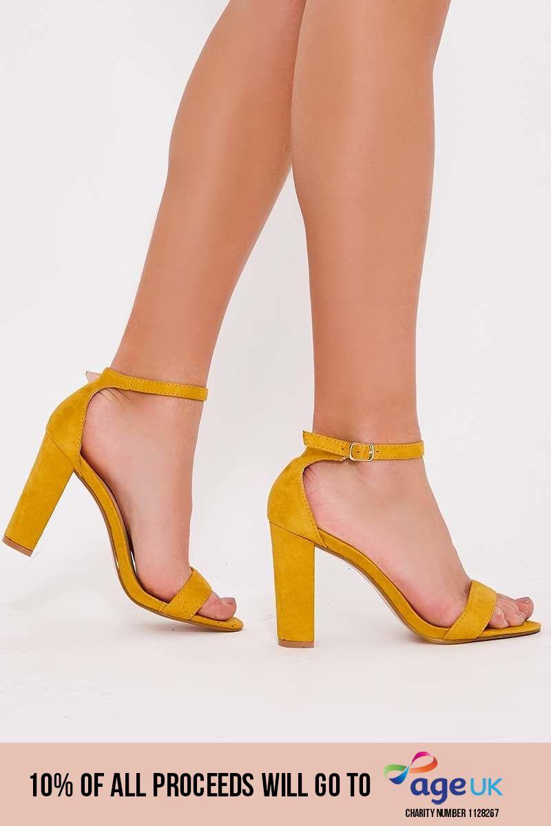 mustard faux suede ankle strap heels