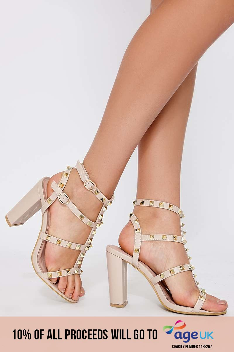 nude faux leather studded strap sandal heels