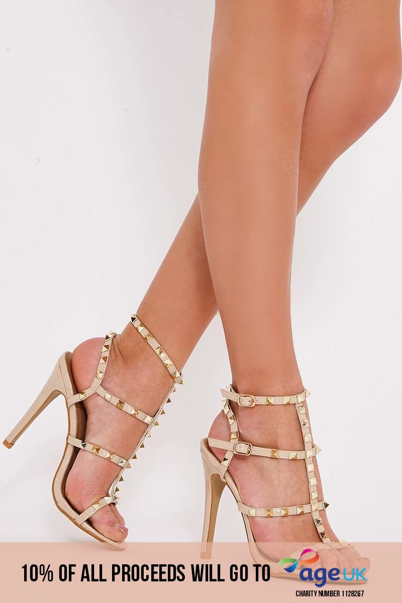 nude studded strappy heels