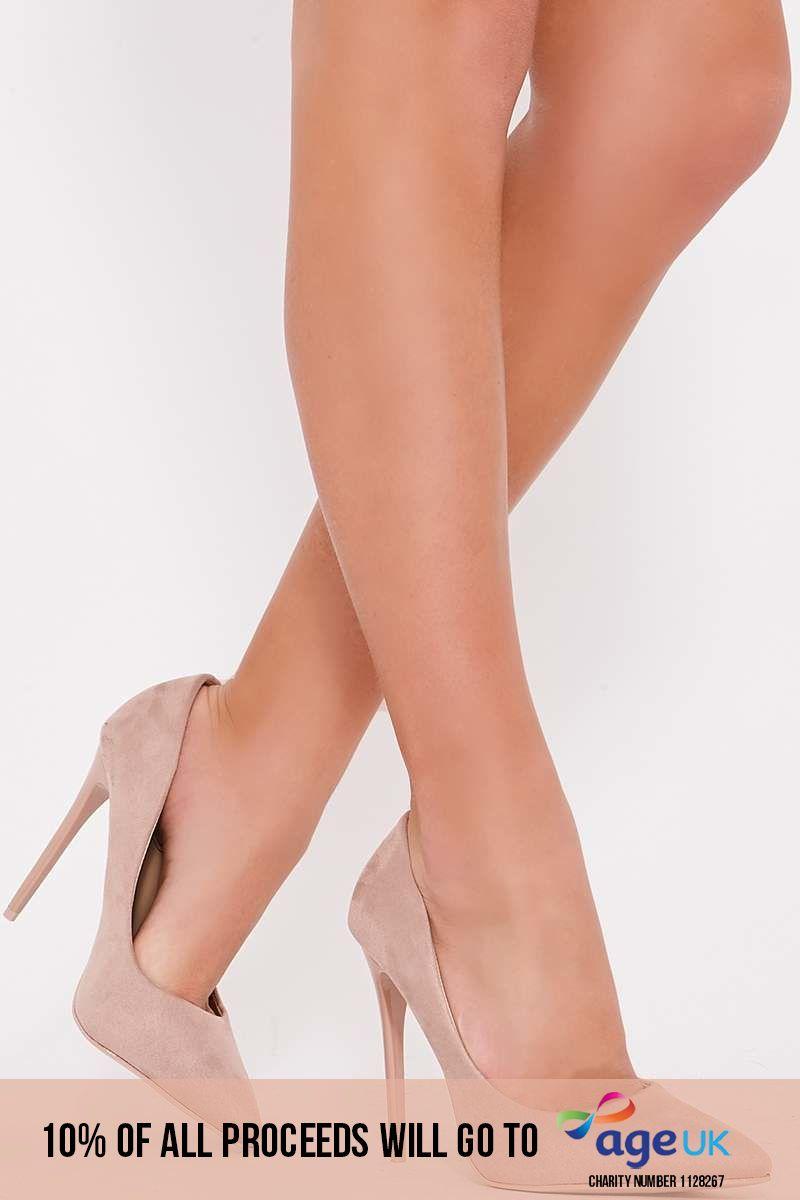 nude faux suede court heels