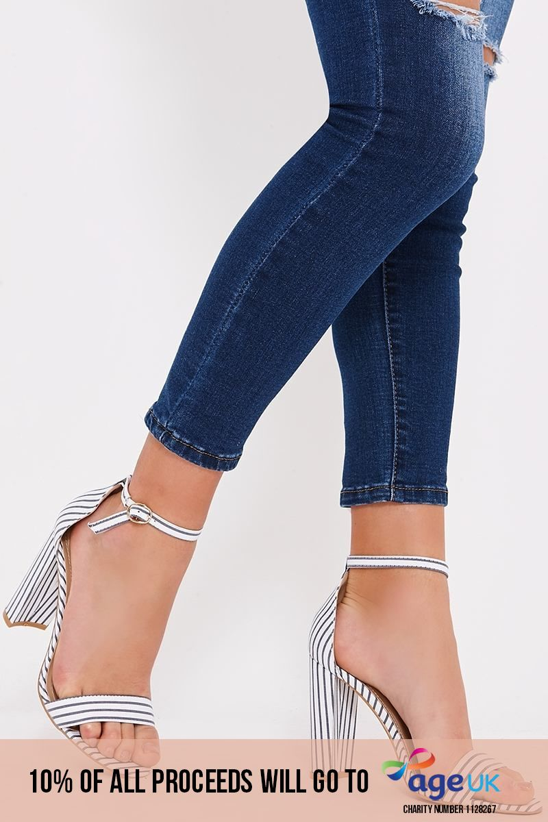 navy pinstripe barely there heels