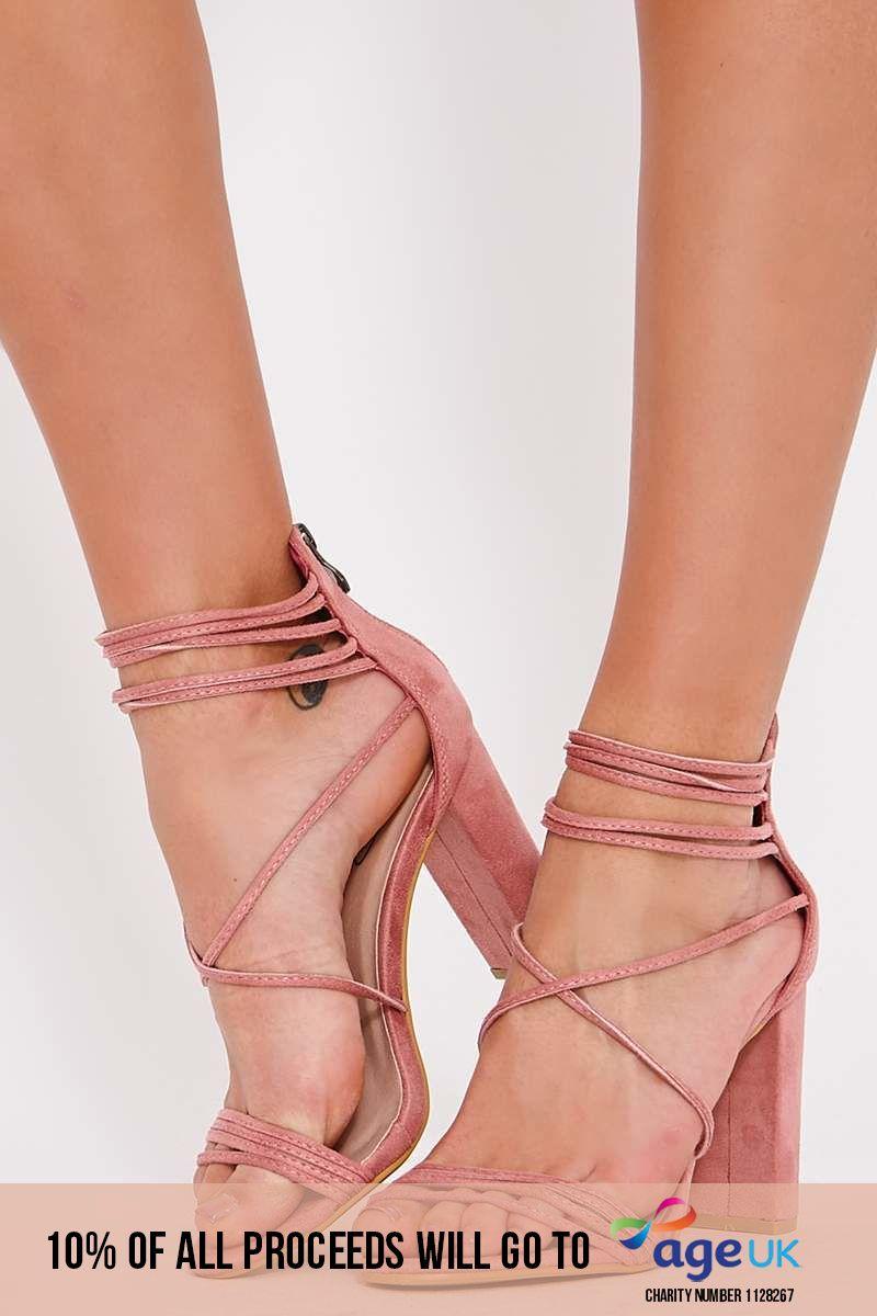 pink faux suede multi strap heels
