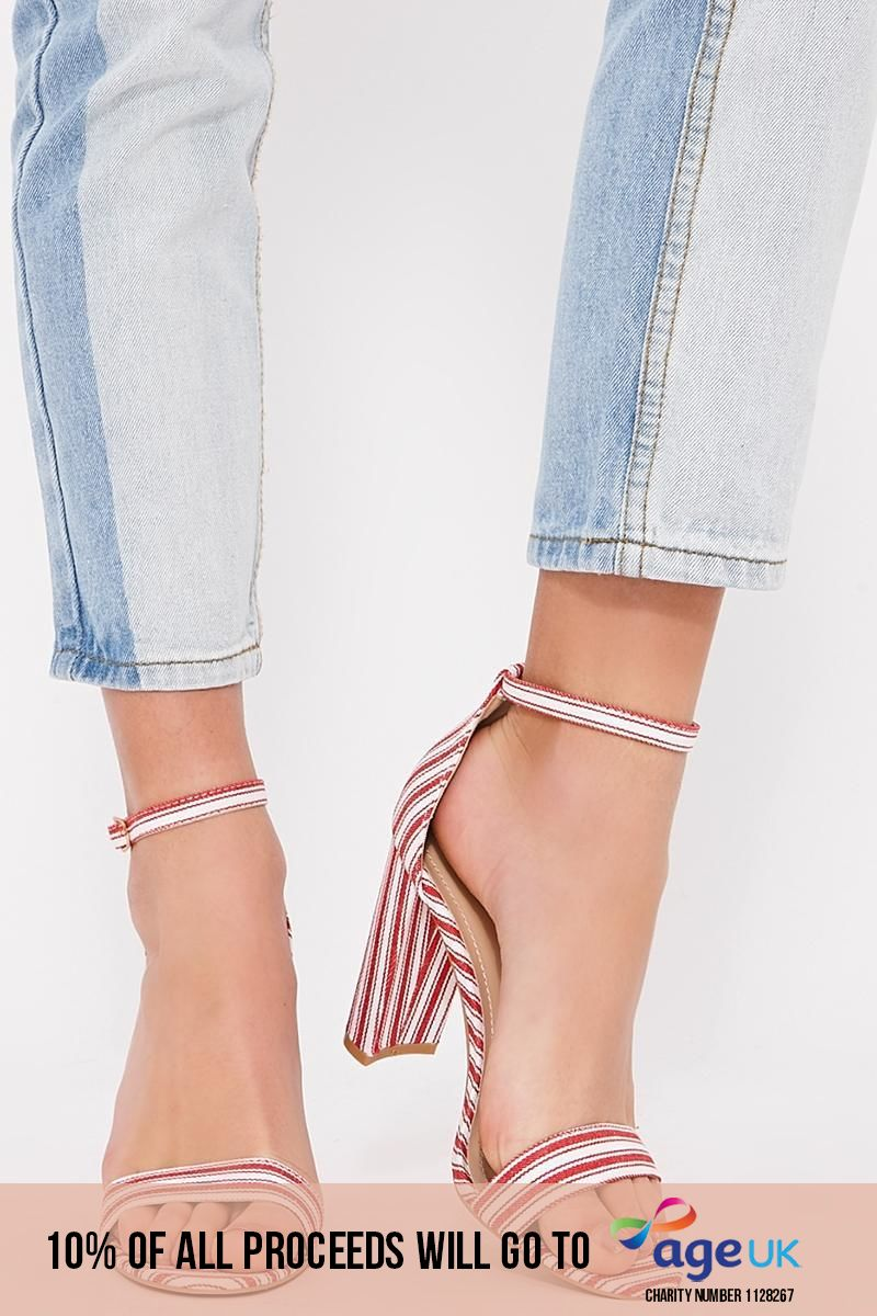 red striped barely there heels