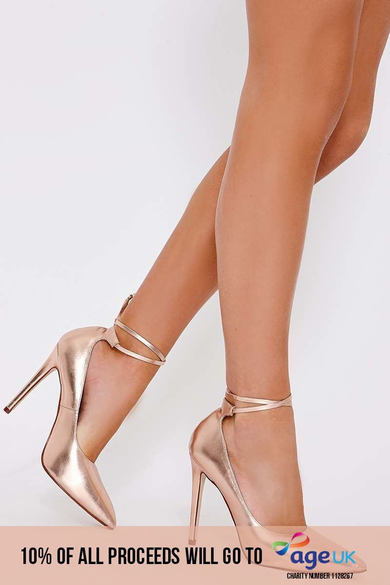 UNA ROSE GOLD FAUX LEATHER LACE UP COURT HEELS
