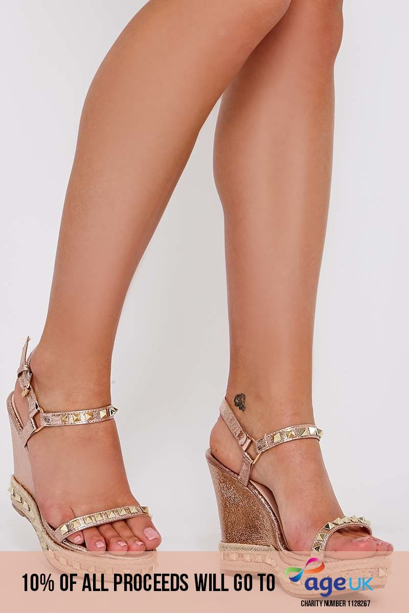 THEA ROSE GOLD FAUX LEATHER STUDDED WEDGES