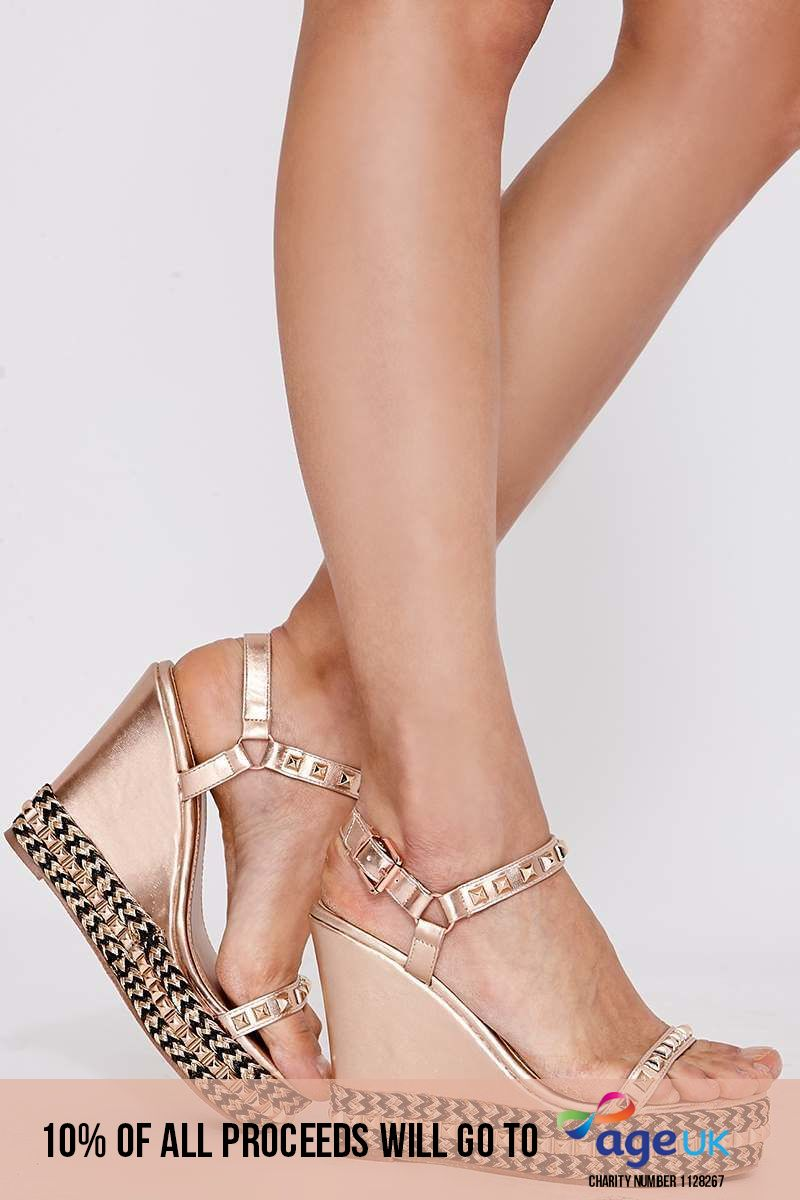 rose gold faux leather wedge heels