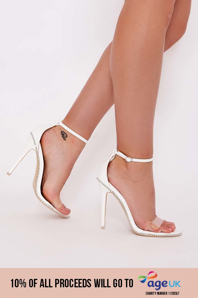 white studded clear strap barely there heels