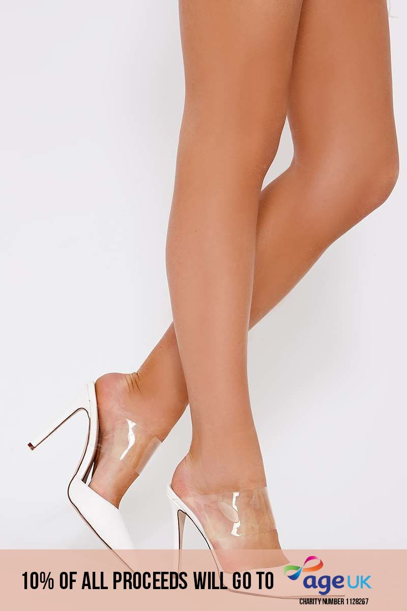white faux suede clear strap backless heels