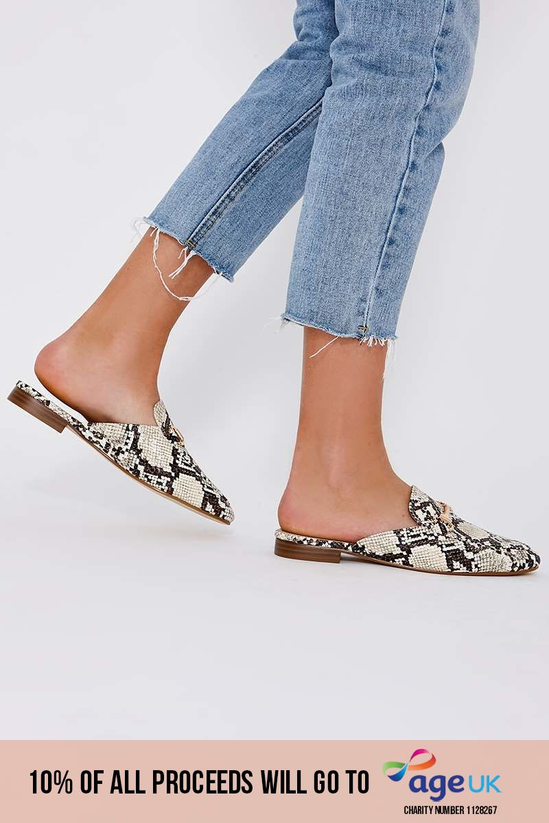 snake print backless loafers