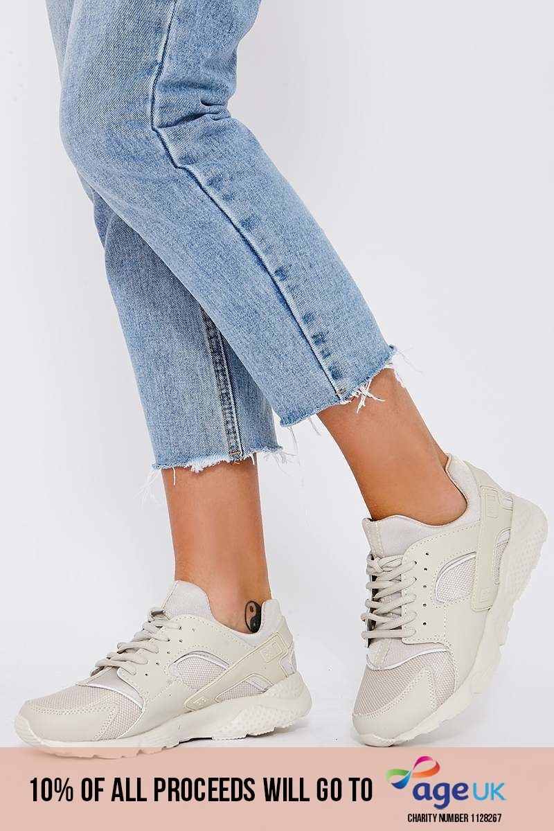 beige chunky sole trainers