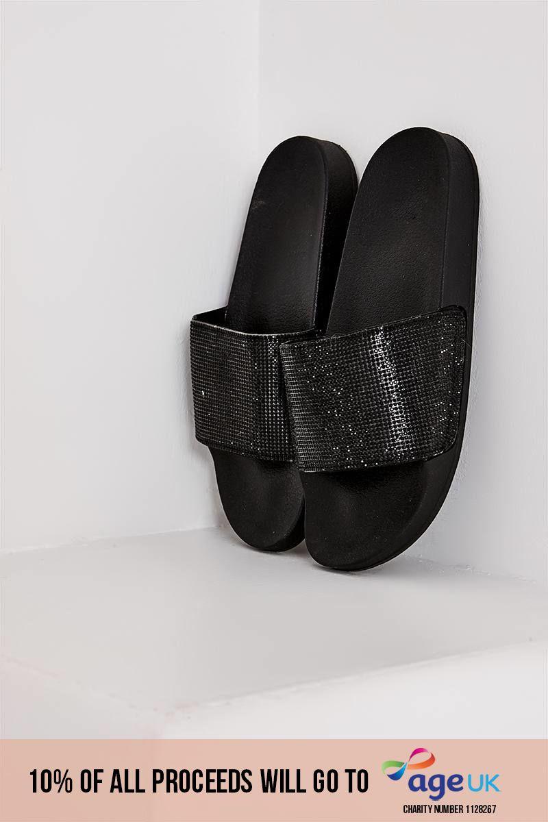 black diamante sliders