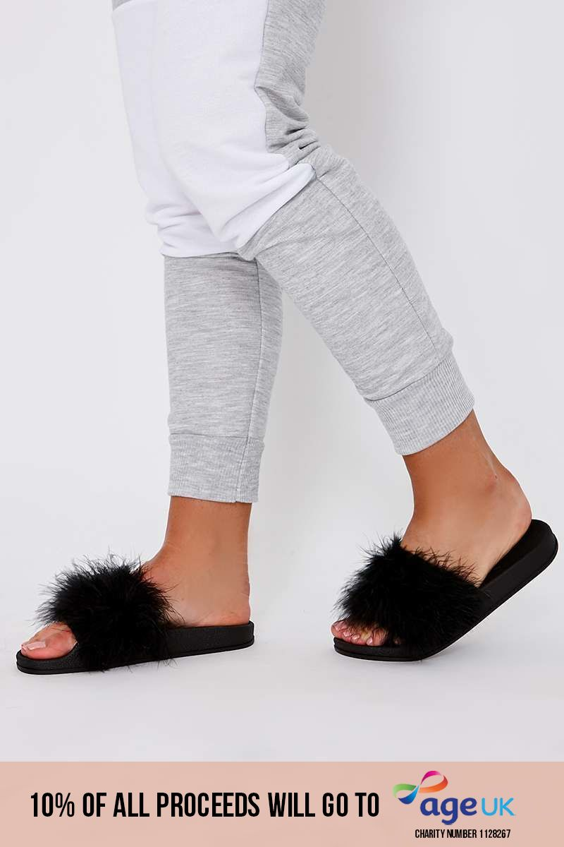 black extreme fluffy sliders