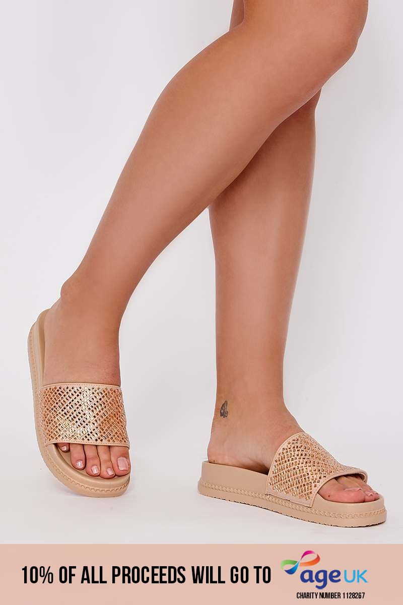 gold diamante platform sliders