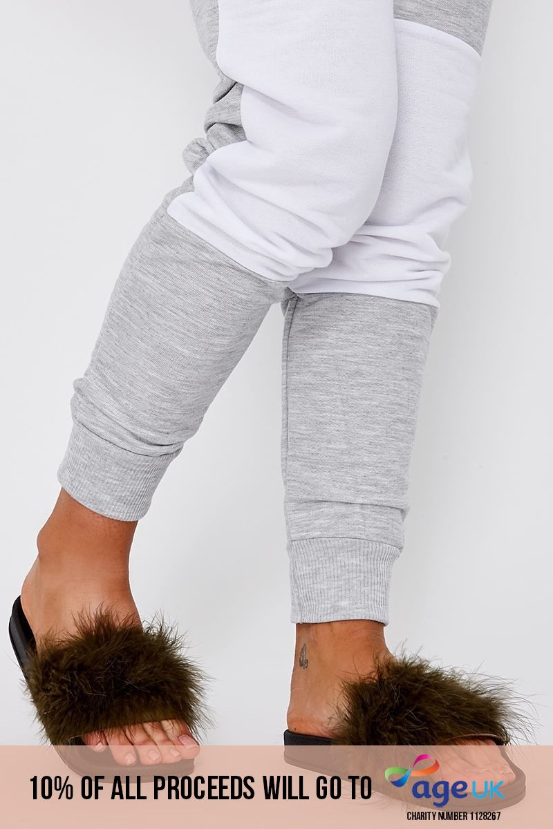 khaki extreme fluffy sliders