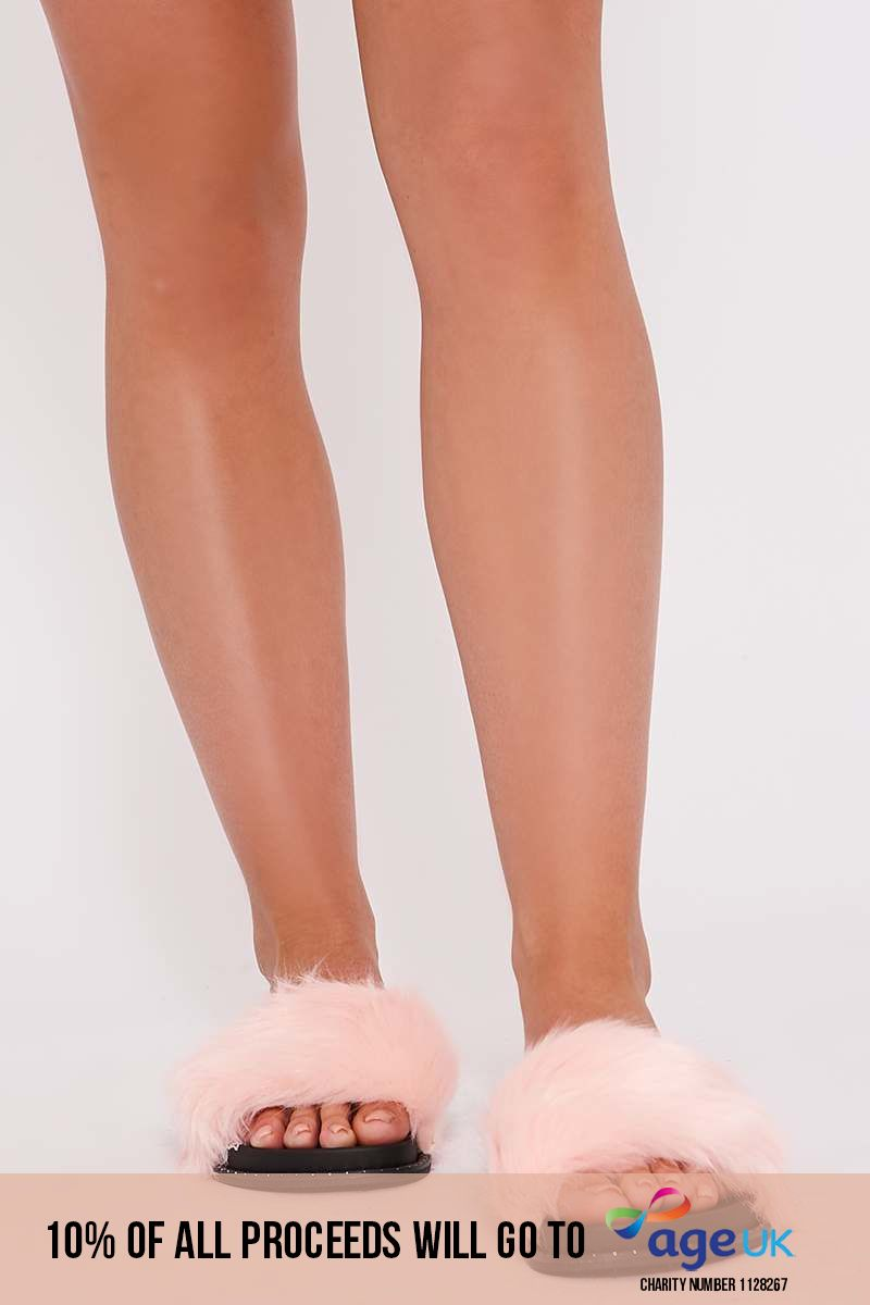 pink faux fur studded sole sliders