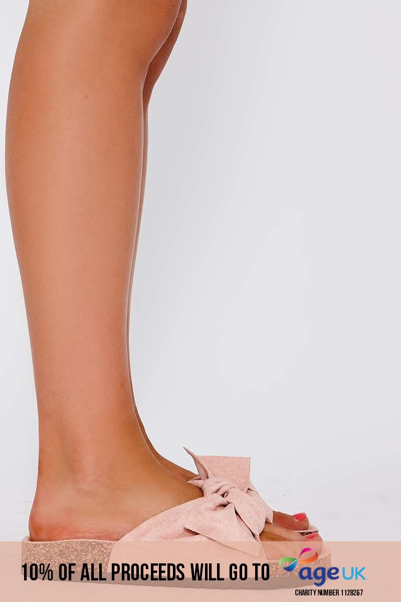 pink faux suede bow slider
