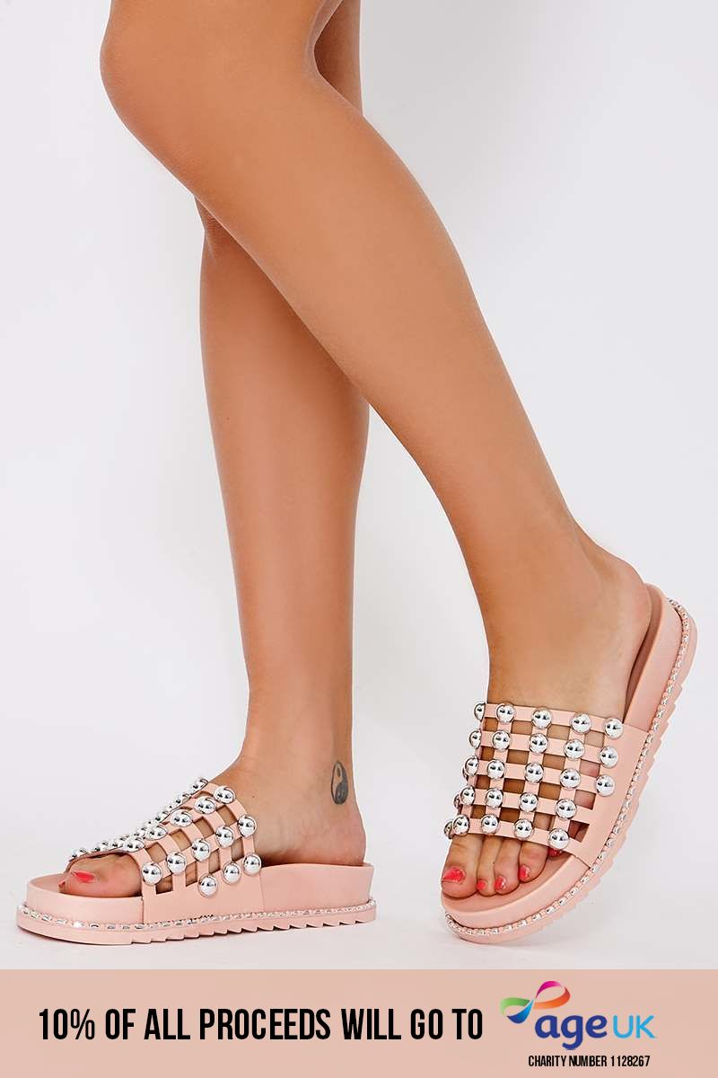 pink faux leather round stud sliders