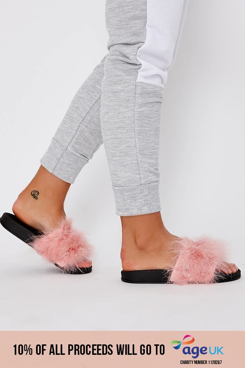 baby pink extreme fluffy sliders