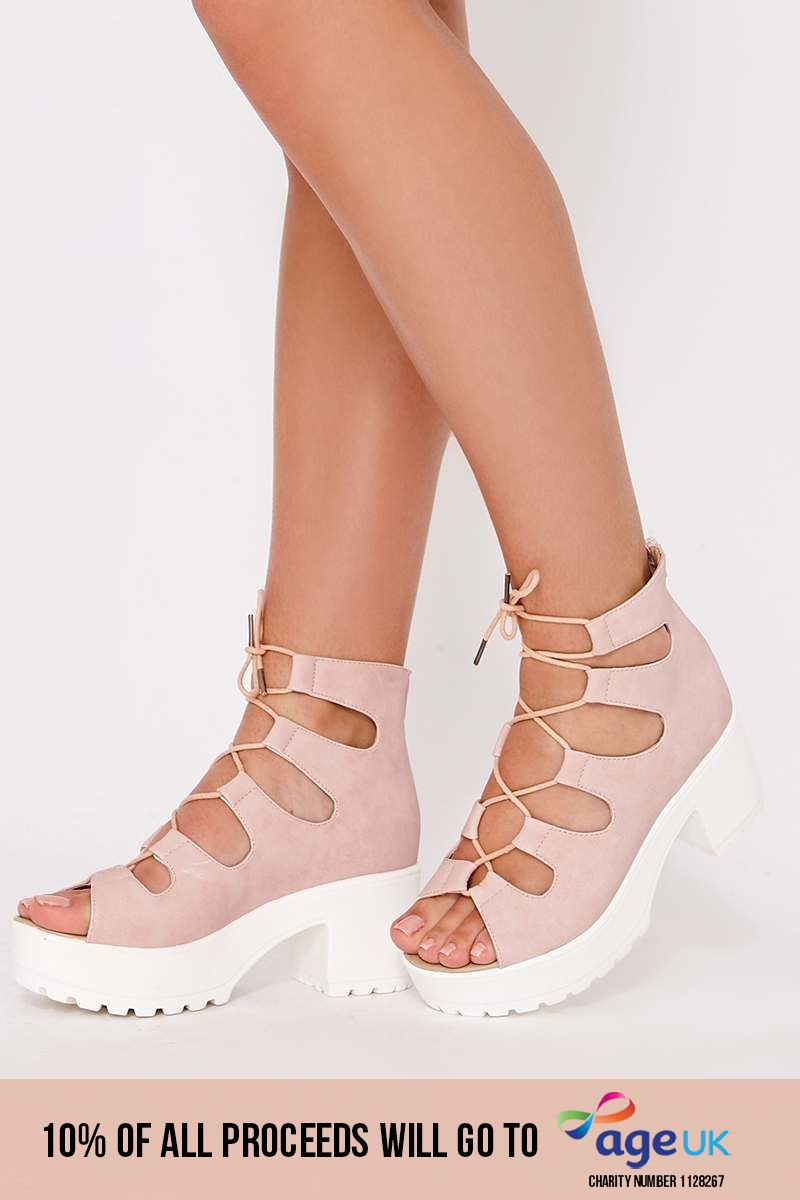 pink faux suede lace up flatforms