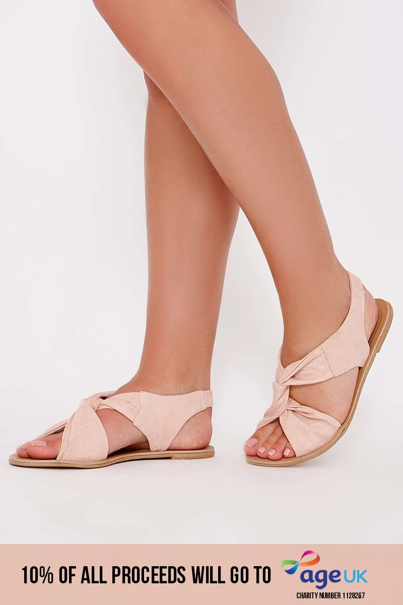 pink faux suede twist strap sandals