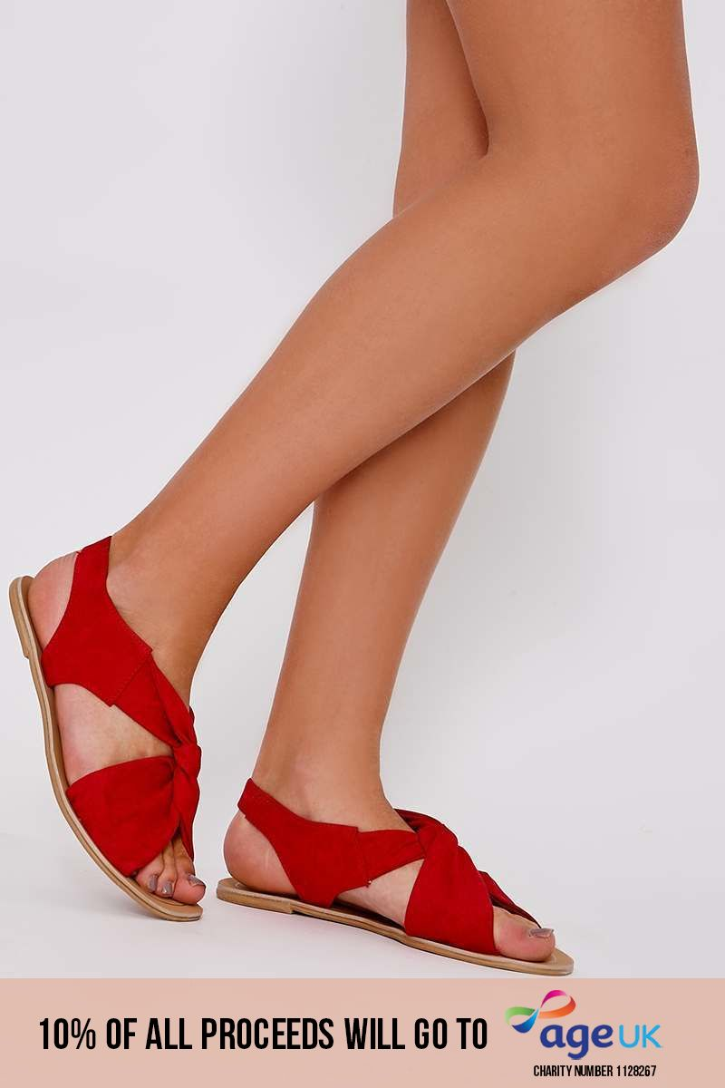 red faux suede twist strap sandals