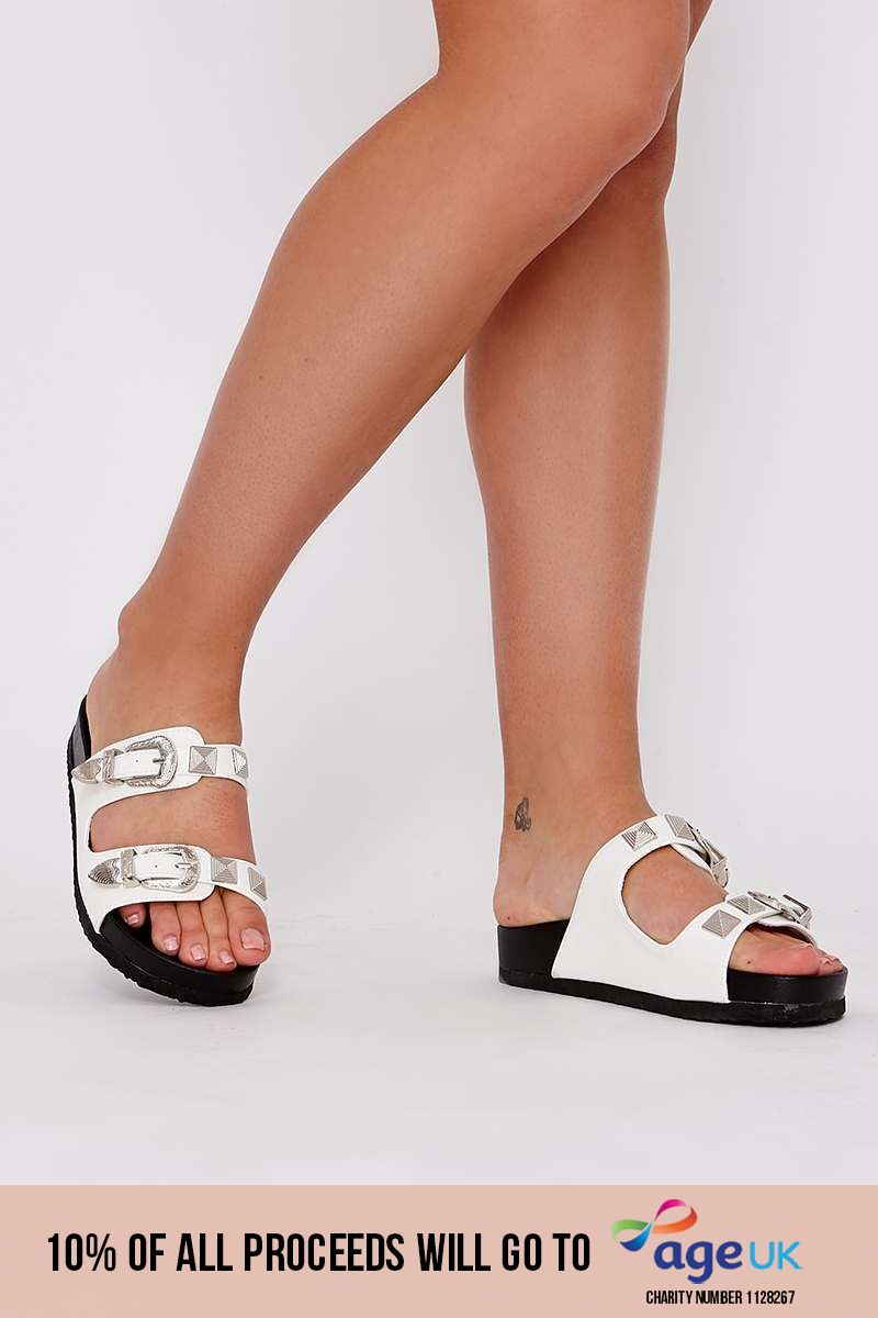 white faux leather western buckle sliders