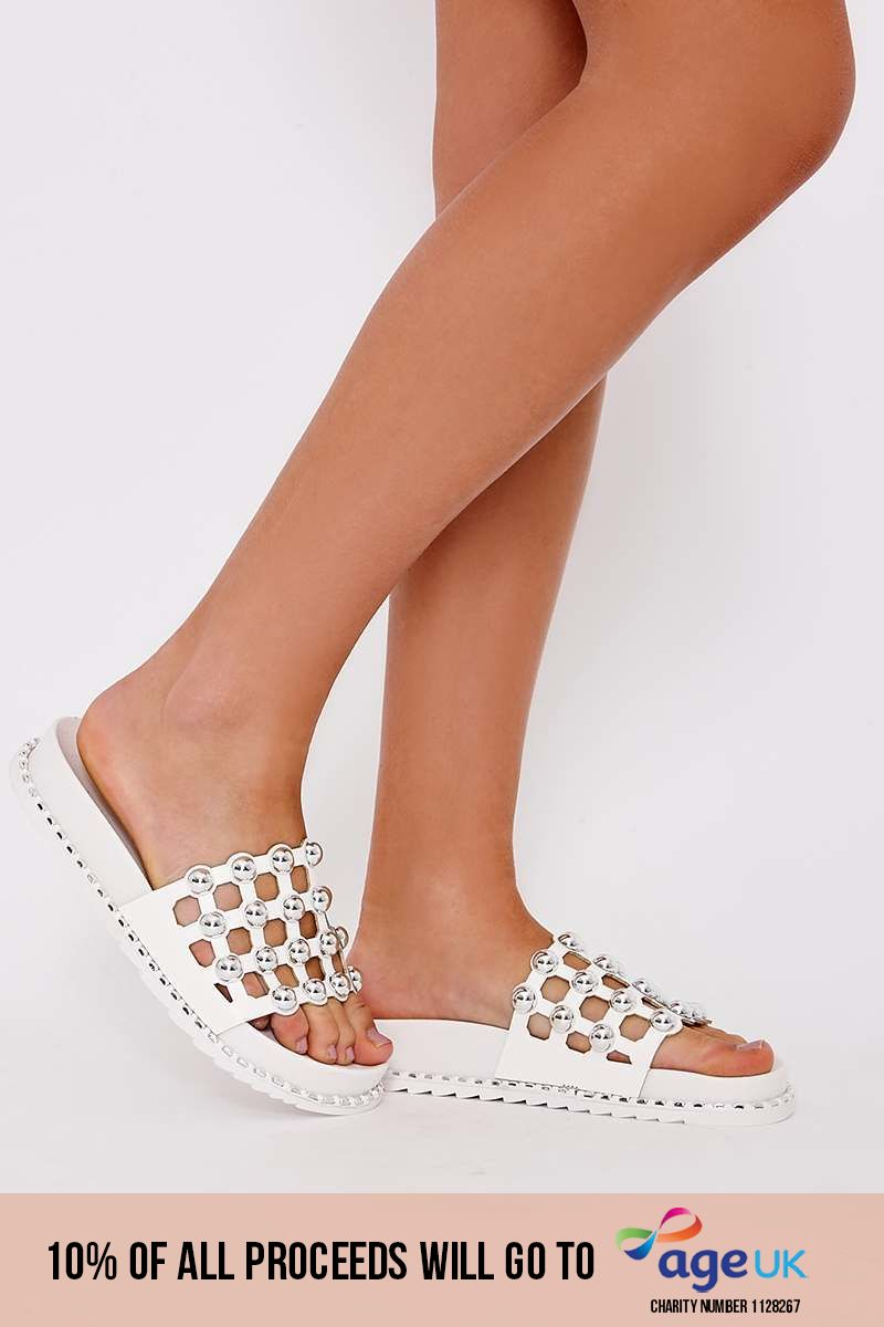 LANEI WHITE FAUX LEATHER ROUND STUD SLIDERS
