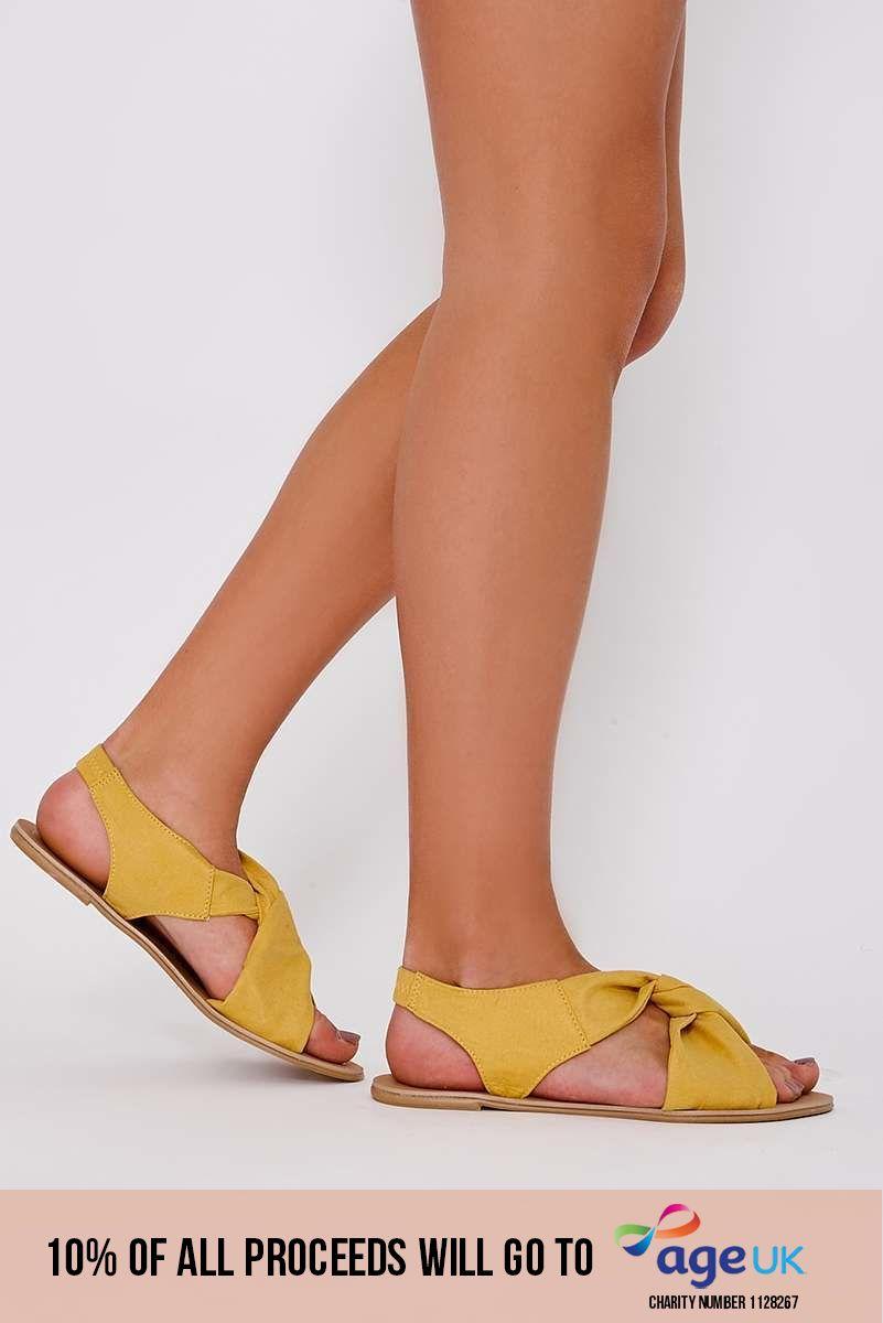 yellow faux suede twist strap sandals