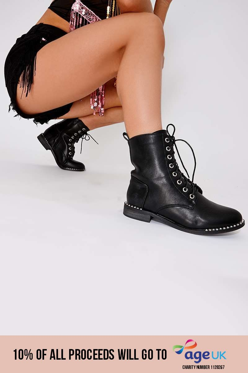 black faux leather studded biker ankle boots