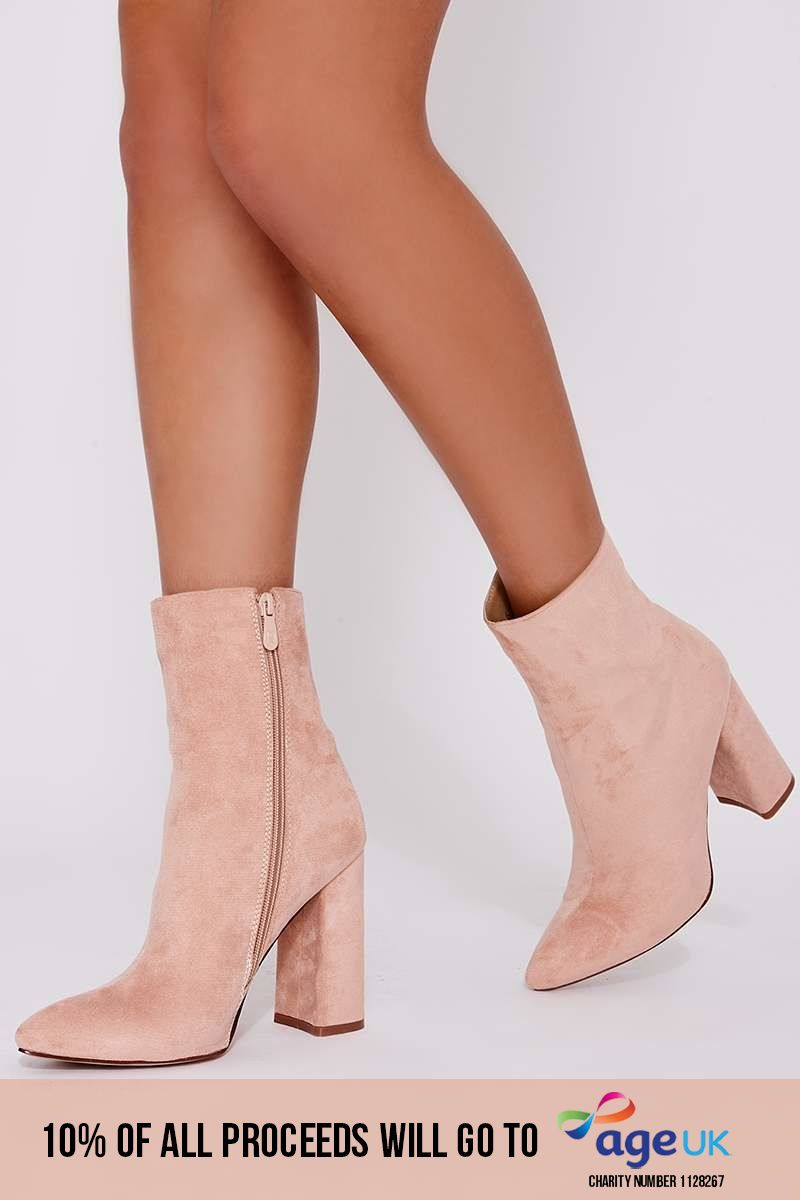 blush faux suede heeled ankle boots