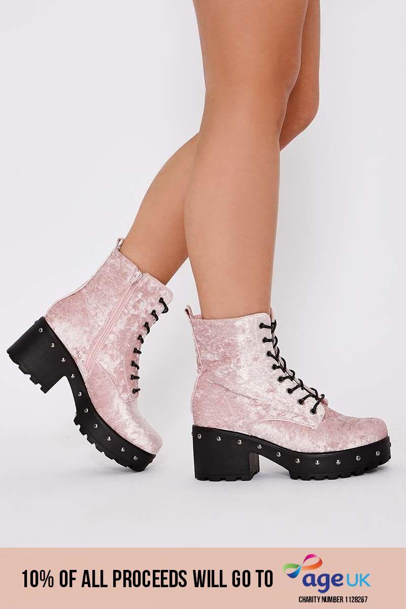 pink crushed velvet biker boots