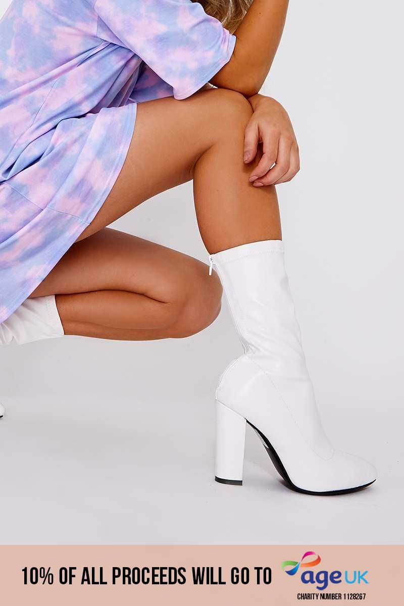 white faux leather heeled ankle boot