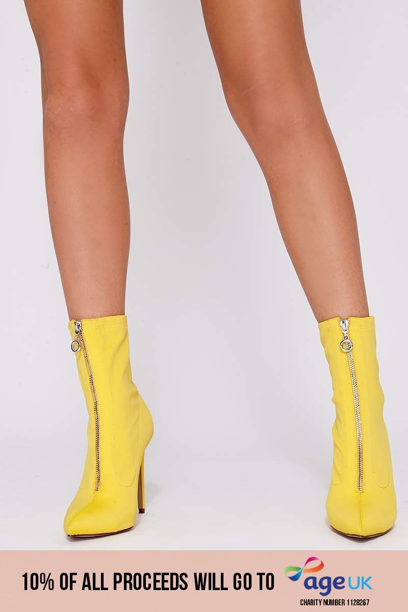 REYNA YELLOW ZIP DETAIL HEELED SOCK BOOTS