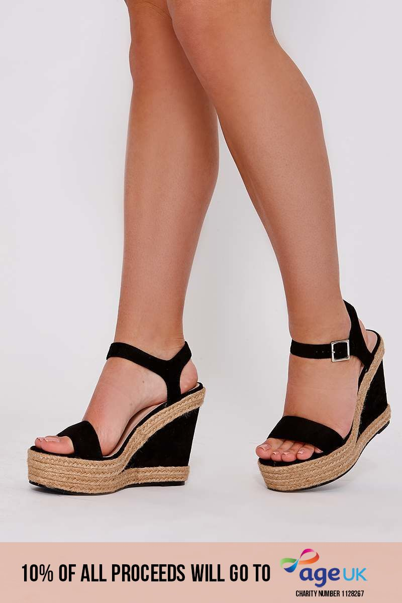 ZO BLACK FAUX SUEDE ESPADRILLE WEDGES