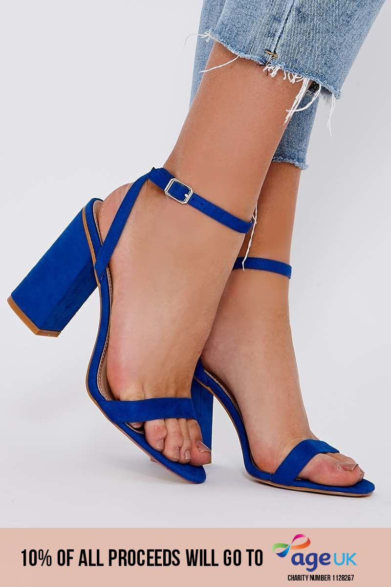 blue faux suede barely there block heels
