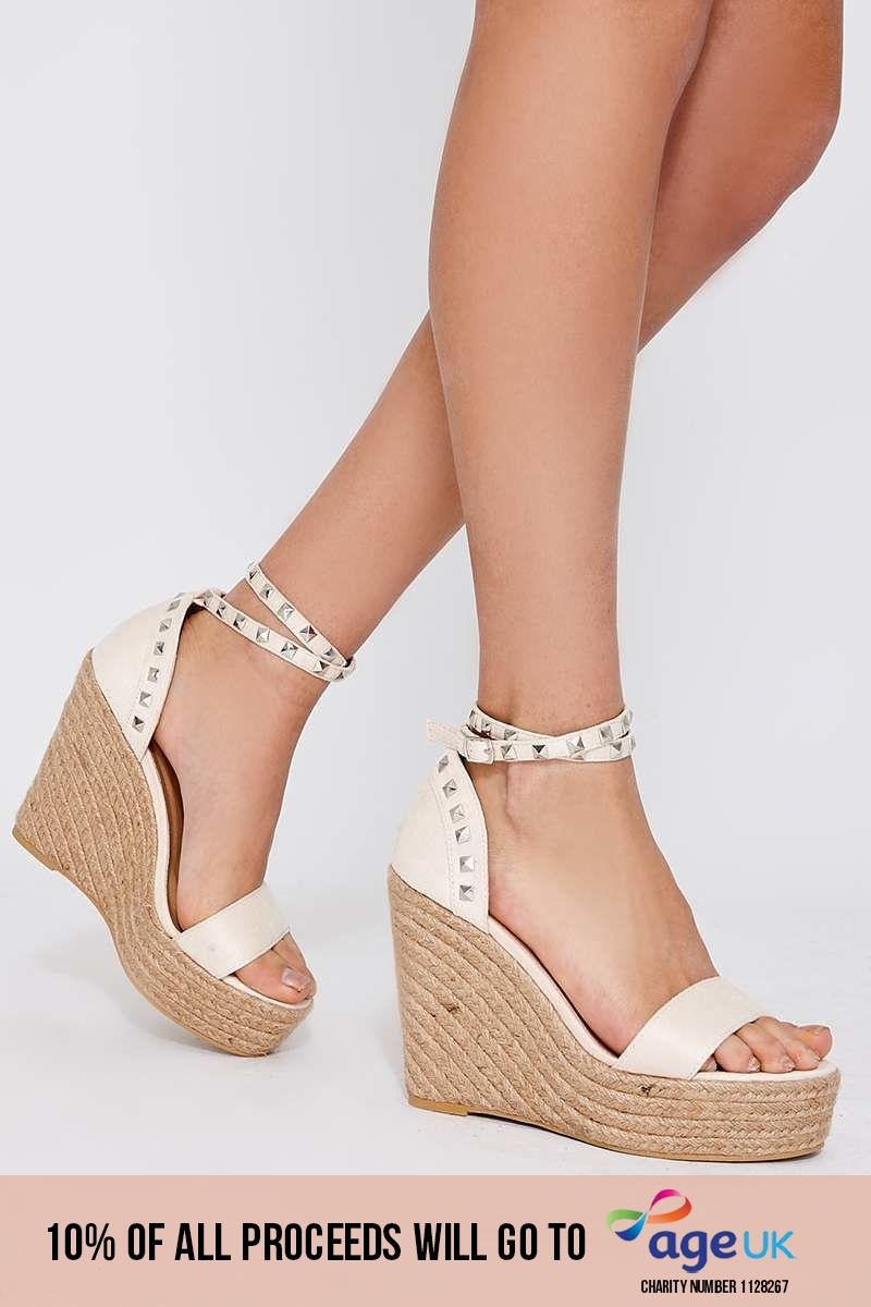 cream faux suede studded wedges