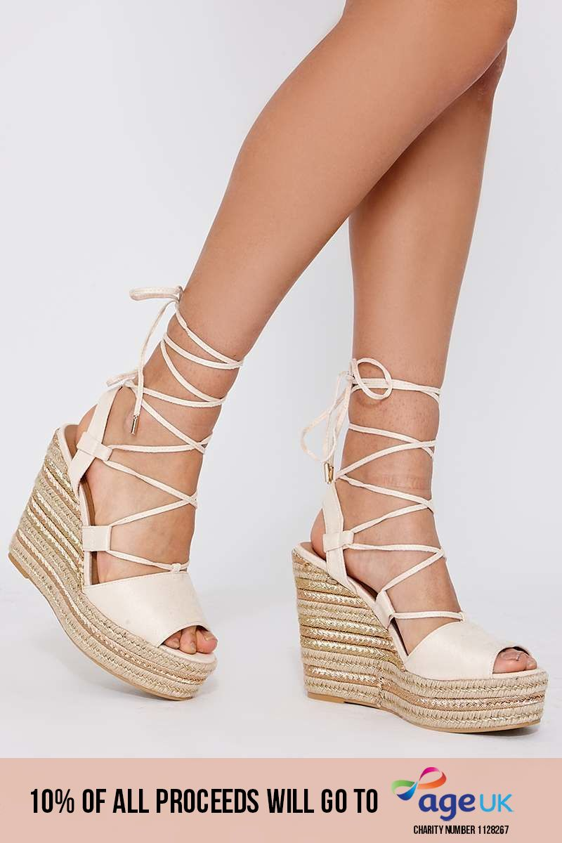 cream faux suede lace up espadrille wedges