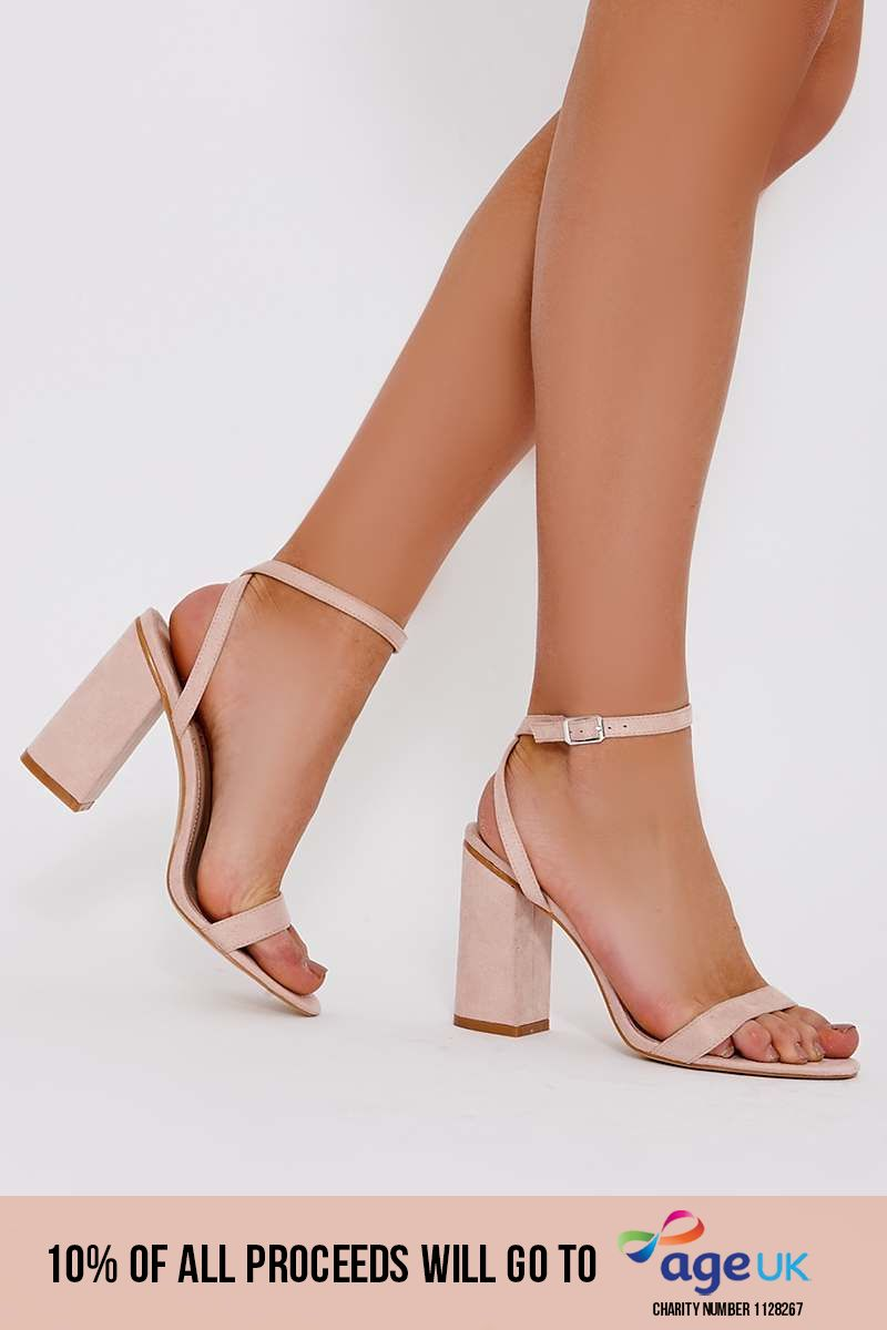nude faux suede barely there block heels