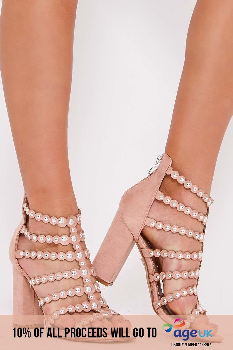 nude studded caged block heel sandals