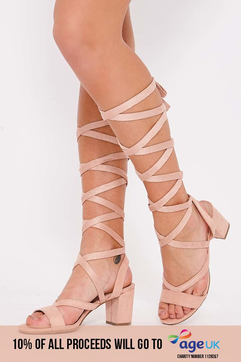 pink faux suede lace up open toe heeled sandals