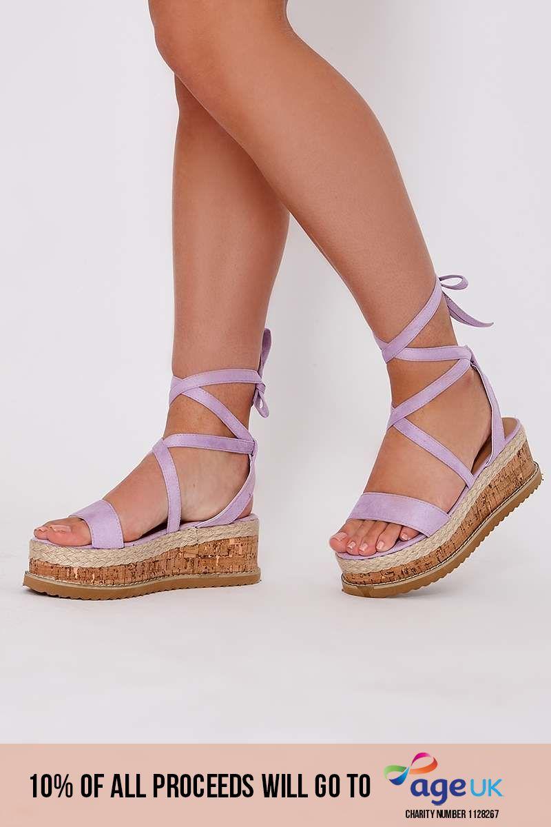 lilac tie leg platform espadrilles