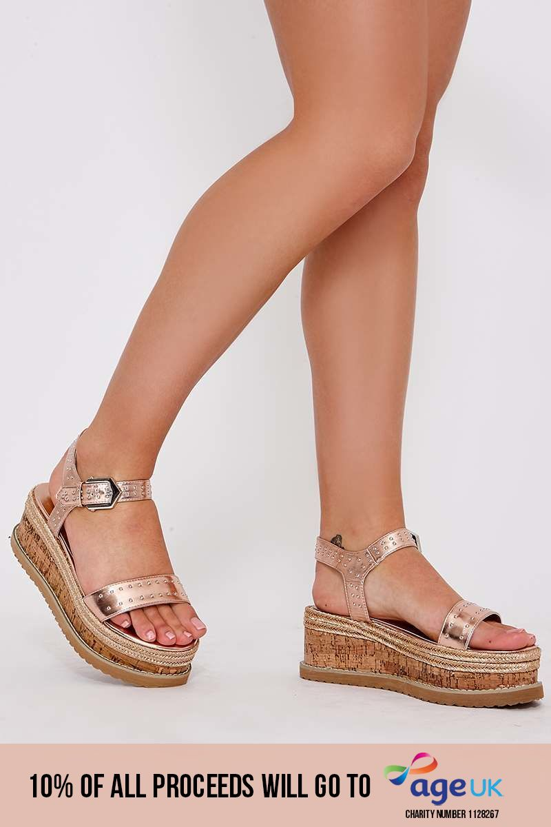 PENE ROSE GOLD FAUX LEATHER STUDDED PLATFORM ESPADRILLES