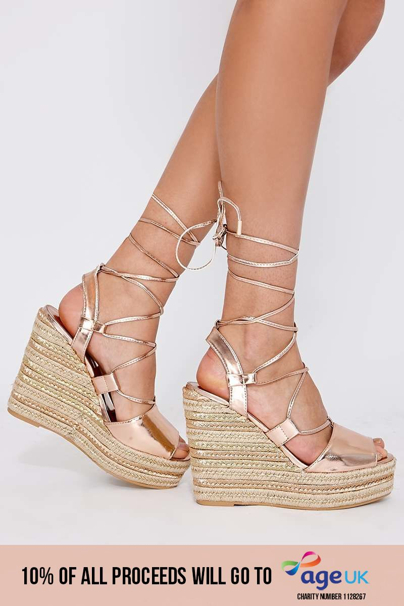 rose gold lace up espadrille wedges