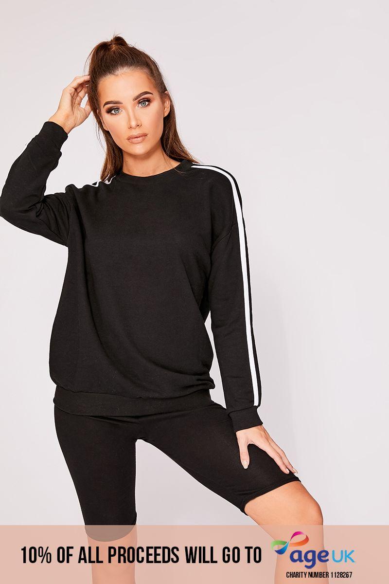 black sports stripe sweater