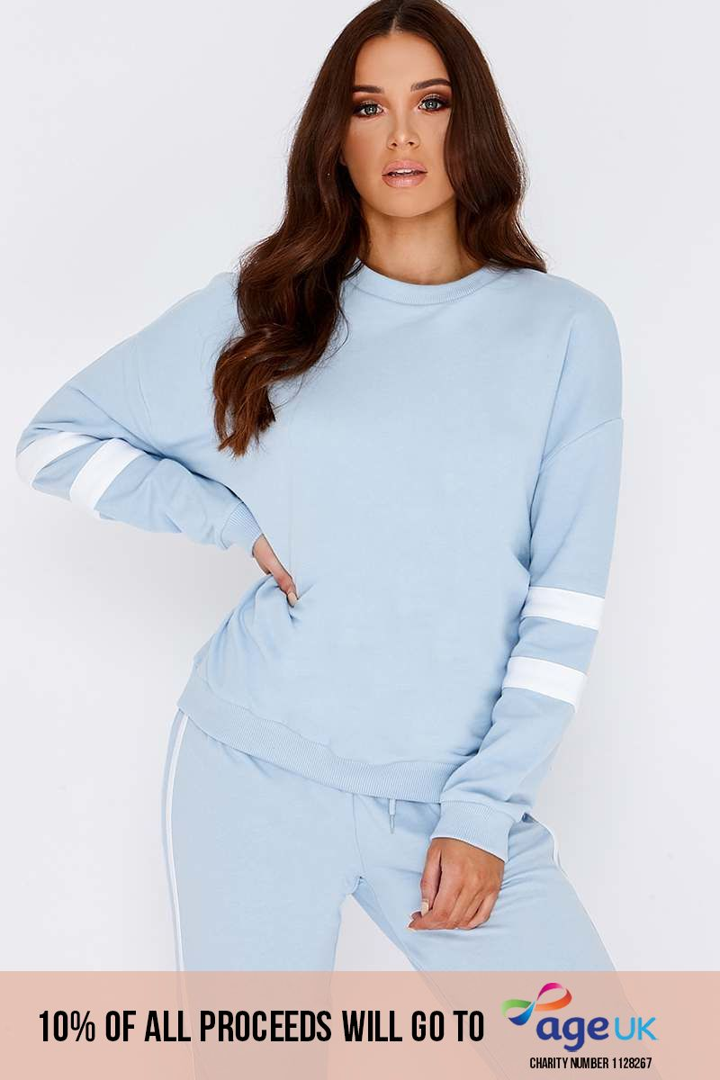 LARMINA BABY BLUE SPORTS STRIPE SWEATER