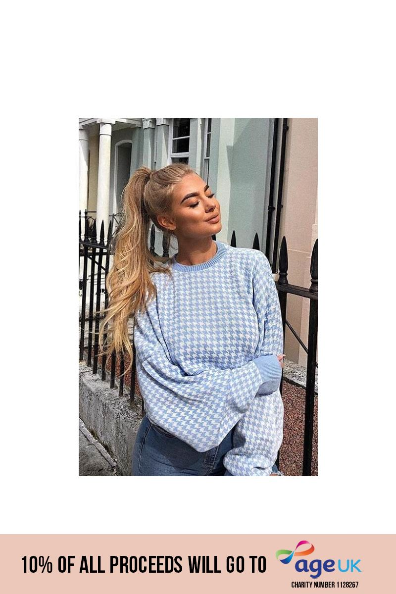 ILSE BABY BLUE HOUNDSTOOTH CROPPED JUMPER