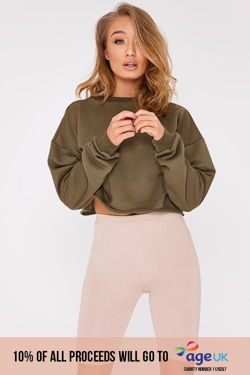 khaki cropped sweater